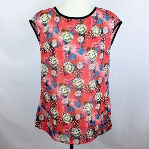 eShakti Red Sleeveless Blouse 8 Floral Button Back